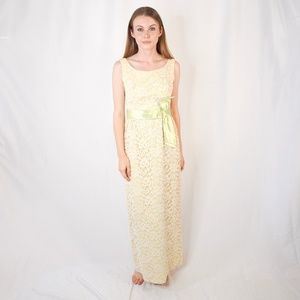 VINTAGE Green Chartreuse Maxi Gown Bow 50s Lace